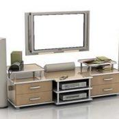 آبجکت های آماده ۳d max میز تلویزیون و تلویزیون