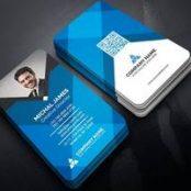 طرح لایه باز کارت ویزیت عمودی آبی Business Card