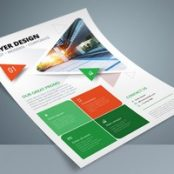 تراکت چندرنگ شرکتی Colorful Business Flyer Layout with Triangle Elements