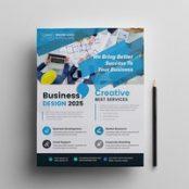 طرح تراکت شرکتی آبی رنگ Business Flyer With Blue Accents