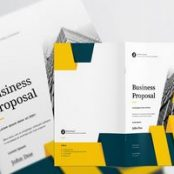 طرح پروپوزال شرکتی زرد Business Proposal Layout with Teal and Yellow Accents
