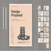 طرح پروپوزال Design Proposal Layout with Pale Pink Elements