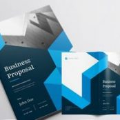 طرح پروپوزال شرکتی Business Proposal Layout with Blue Accents