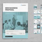 طرح لایه باز پروپوزال شرکتی Business Proposal Layout with Blue Accents