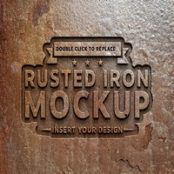 موکاپ متن فلز زنگ زده Rusted Metal Text Effect Mockup