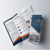 بروشور سه لت آبی نارنجی Blue and Orange Tri-Fold Brochure Layout