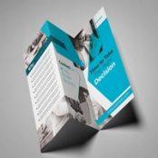 طرح لایه باز بروشور Gray and Teal Trifold Brochure Layout