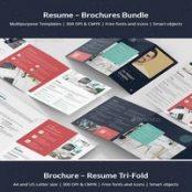 طرح رزومه و بروشور  Brochures Bundle Print Templates 5 in 1
