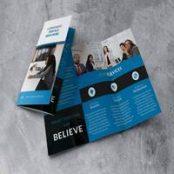 فایل لایه باز بروشور سه لت Trifold Blue Brochure