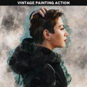 اکشن فوتوشاپ افکت نقاشی آبرنگ Vintage Painting Effect Action