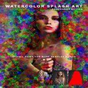 اکشن فتوشاپ آبرنگ Watercolor Splash Art Action