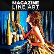اکشن فتوشاپ Magazine Line Art