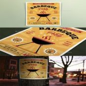 تراکت تهیه غذا Retro Barbeque Party Flyers