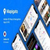 طرح رابط کاربری اپلیکیشن نقشه Mapigato