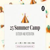 مجموعه ۲۵ طرح لایه باز آیکون تابستانی Summer Camp icons with bonus graphic templates