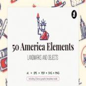 مجموعه ۵۰ طرح لایه باز آیکون نمادهای آمریکا USA elements with bonus graphic templates