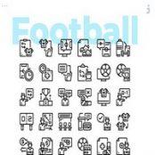 مجموعه ۳۰ طرح لایه باز آیکون فوتبال Football Icons
