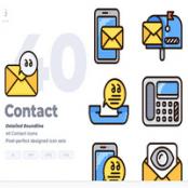 مجموعه طرح لایه باز ۴۰ آیکون تماس Contact Icon set – Detailed Round line