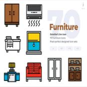 مجموعه طرح لایه باز ۷۰ آیکون لوازم خانه Furniture Icons – Detailed Line Icon