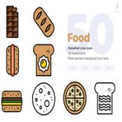 مجموعه طرح لایه باز ۵۰ آیکون غذا Food Icons – Detailed Line Icon