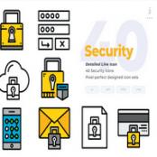 مجموعه طرح لایه باز ۴۰ آیکون امنیت Security Icons – Detailed Line Icon