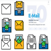 مجموعه طرح لایه باز ۷۰ آیکون ایمیل E-mail Icons – Detailed Line Icon