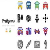 مجموعه آیکون اتومبیل و قطعات Prettycons – 200 Car Parts Vehicles Icons Vol.1