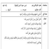 طرح درس روزانه فارسی خرس کوچولو پایه دوم