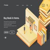 طرح لایه باز تصویرسازی صفحه فرود Buy Book In Home