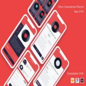 کیت UI اپلیکیشن موسیقی Retro Gramophone Record
